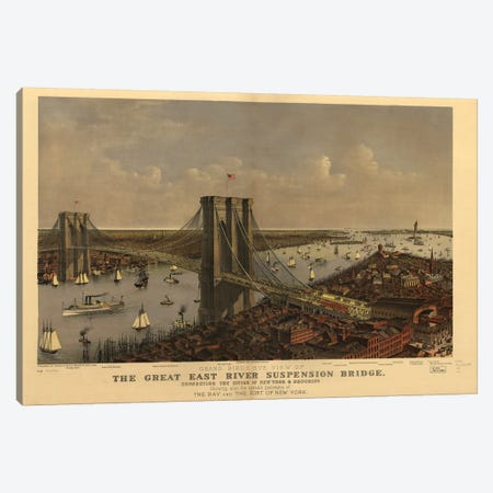 Brooklyn Bridge, Bird's Eye View, 1885 Canvas Print #CIV2} by Currier & Ives Art Print