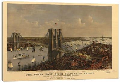 Brooklyn Bridge, Bird's Eye View, 1885 Canvas Art Print
