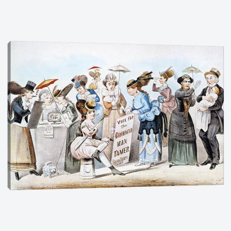 Cartoon: Women's Rights Canvas Print #CIV5} by Currier & Ives Canvas Artwork