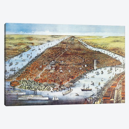 City of New York, 1876  Canvas Print #CIV6} by Currier & Ives Canvas Wall Art
