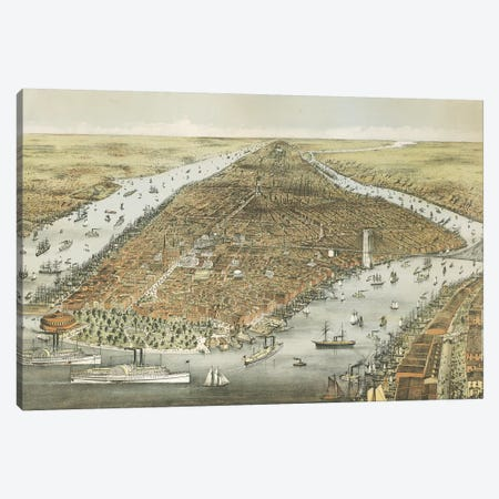 The City of New York, 1876  Canvas Print #CIV8} by Currier & Ives Art Print