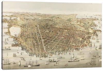 The City of San Francisco - Bird's Eye view from the Bay, looking southwest, 1878  Canvas Art Print