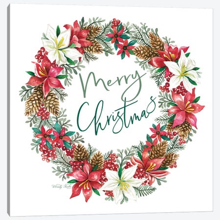 Merry Christmas Wreath Canvas Print #CJA108} by Cindy Jacobs Canvas Artwork