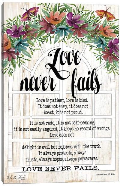 Floral Love Never Fails Canvas Art Print