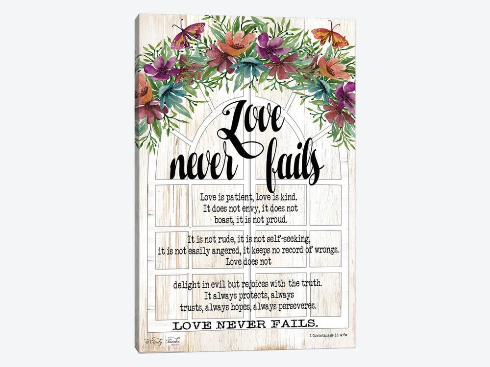 Floral Love Never Fails by Cindy Jacobs 1-piece Canvas Art