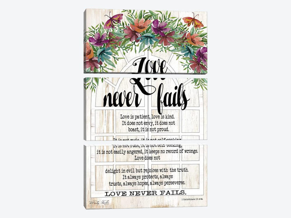 Floral Love Never Fails by Cindy Jacobs 3-piece Canvas Wall Art