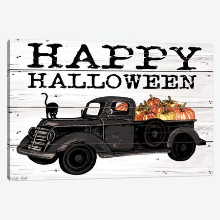 Happy Halloween Black Truck Canvas Print #CJA134} by Cindy Jacobs Canvas Artwork