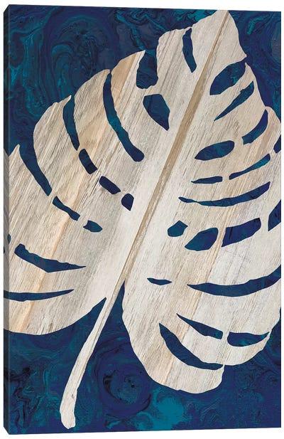 Monstera Navy Canvas Art Print