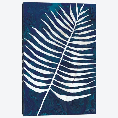 Navy Areca Leaf Canvas Print #CJA159} by Cindy Jacobs Art Print