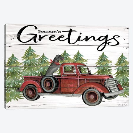 Season's Greetings Red Truck Canvas Print #CJA163} by Cindy Jacobs Canvas Art