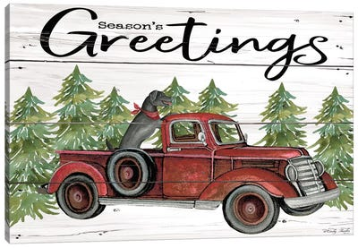 Season's Greetings Red Truck Canvas Art Print