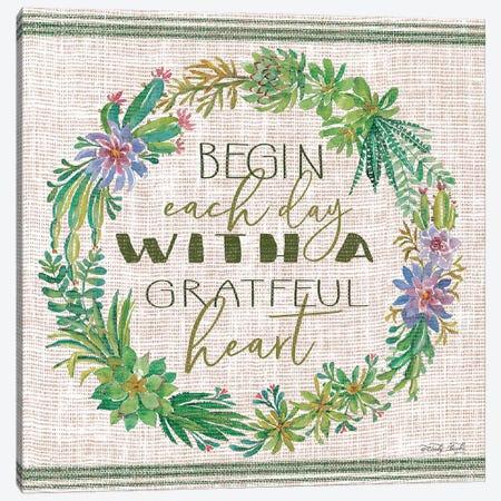 Grateful Heart Succulent Wreath Canvas Print #CJA174} by Cindy Jacobs Canvas Artwork