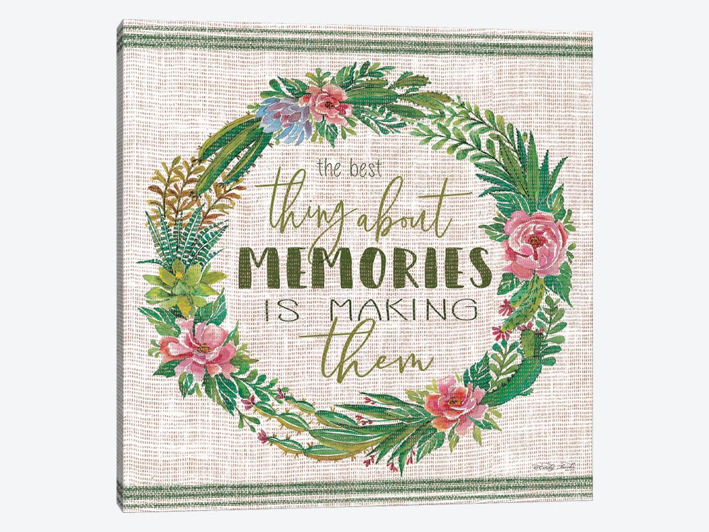 Making Memories Succulent Wreath by Cindy Jacobs 1-piece Canvas Print