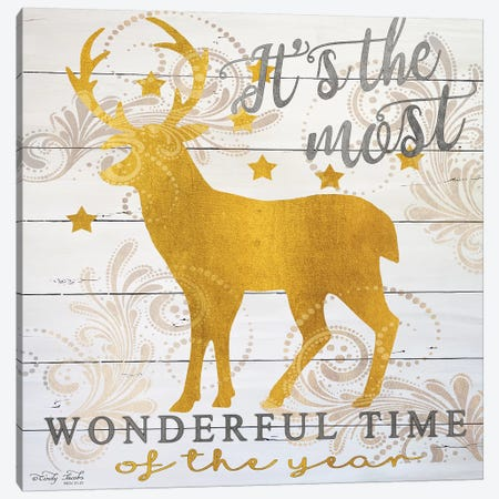 It's The Most Wonderful Time Deer Canvas Print #CJA195} by Cindy Jacobs Canvas Artwork