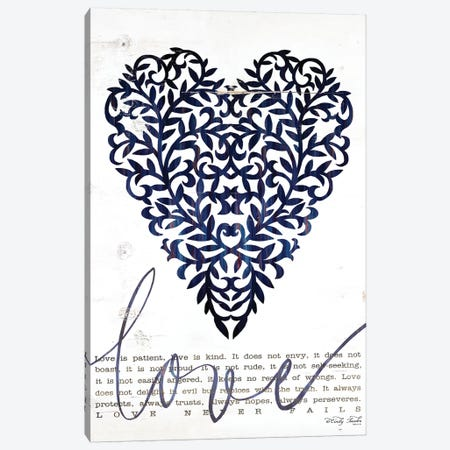 Love Never Fails In Navy Canvas Print #CJA199} by Cindy Jacobs Canvas Print