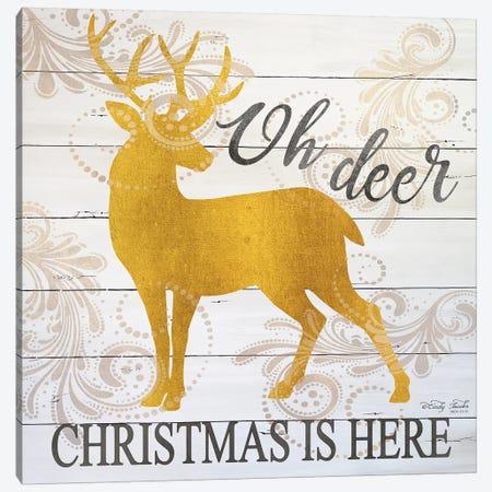 Oh Deer Christmas Is Here Canvas Print #CJA203} by Cindy Jacobs Art Print