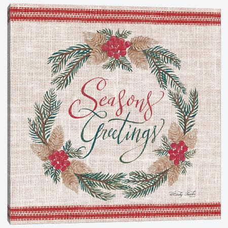 Season's Greetings Wreath Canvas Print #CJA205} by Cindy Jacobs Canvas Artwork
