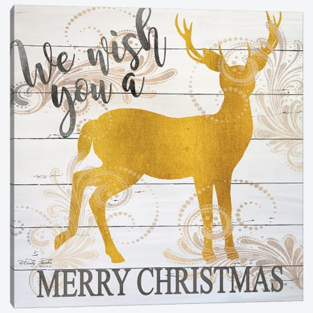 We Wish You A Merry Christmas Deer Canvas Print #CJA209} by Cindy Jacobs Canvas Art Print