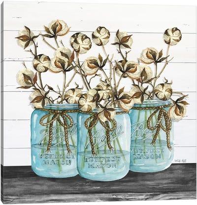Blue Jars - Cotton Stems Canvas Art Print