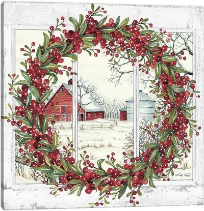 Winter Barn Window View I Canvas Art Print
