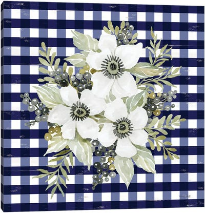 Navy Floral I     Canvas Art Print