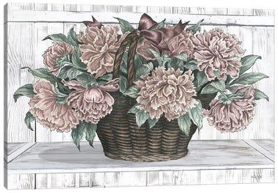 Basket of Peonies Canvas Art Print