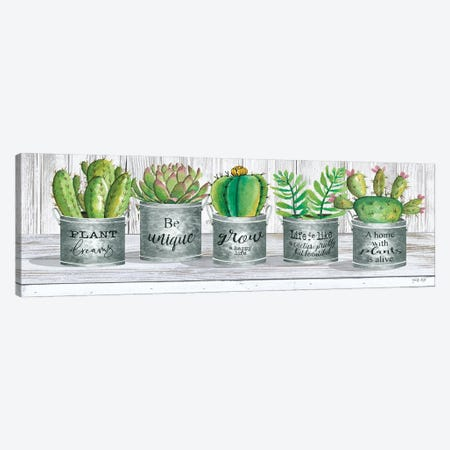 Galvanized Pot Succulents I Canvas Print #CJA261} by Cindy Jacobs Canvas Art Print