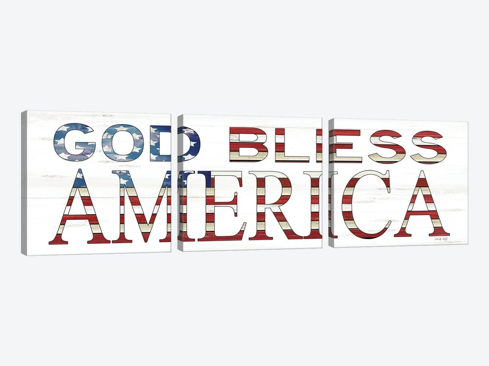 God Bless America    by Cindy Jacobs 3-piece Canvas Wall Art