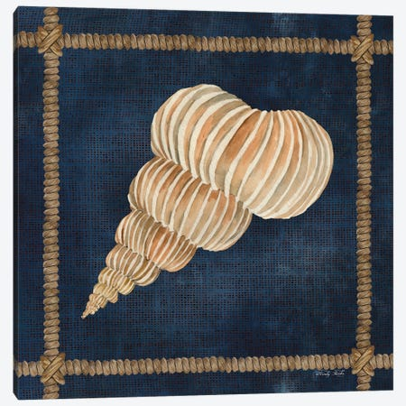Seashell on Navy III Canvas Print #CJA271} by Cindy Jacobs Canvas Artwork