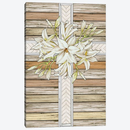 Floral Cross Canvas Print #CJA281} by Cindy Jacobs Art Print