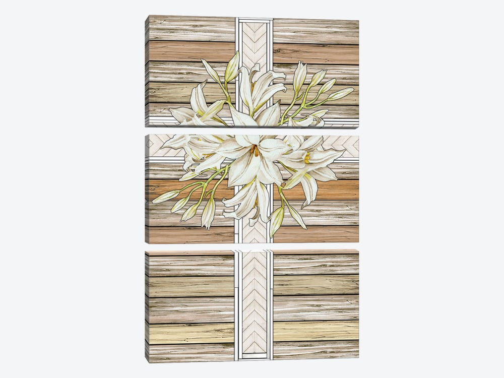 Floral Cross by Cindy Jacobs 3-piece Canvas Wall Art