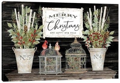 Floral Merry Christmas Canvas Art Print