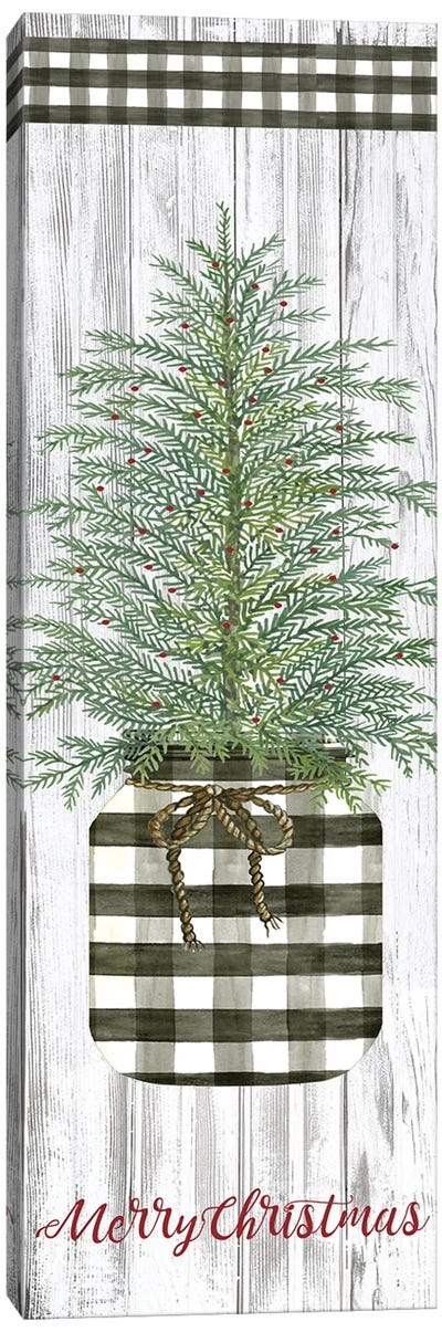 Merry Christmas Buffalo Plaid Jar & Tree  Canvas Art Print