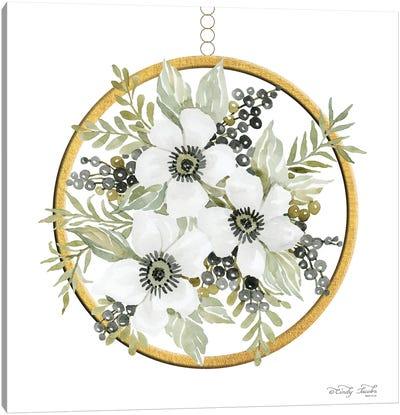 Geometric Circle Muted Floral Canvas Art Print