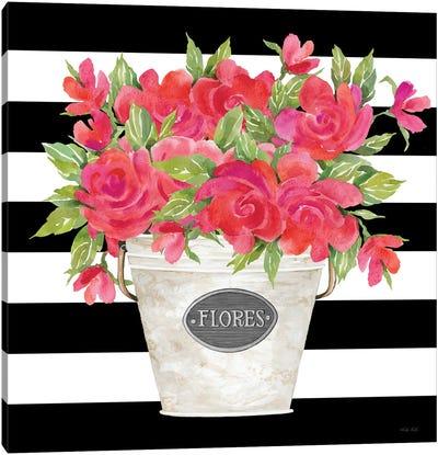 Fuchsia Flores Stripes Canvas Art Print