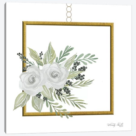 Geometric Square Muted Floral Canvas Print #CJA32} by Cindy Jacobs Canvas Art Print