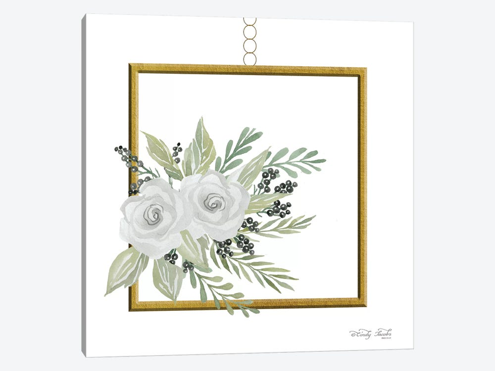 Geometric Square Muted Floral by Cindy Jacobs 1-piece Canvas Wall Art
