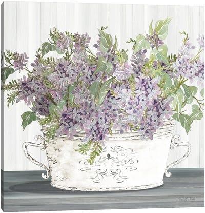 Lilac Galvanized Pot Canvas Art Print