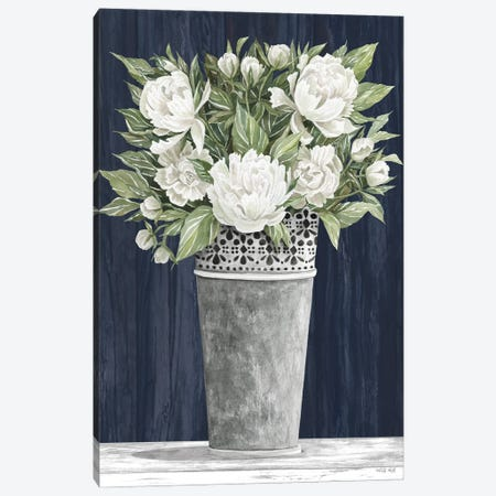 Punched Tin White Floral Canvas Print #CJA358} by Cindy Jacobs Canvas Art Print