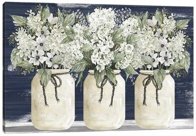 White Floral Trio Canvas Art Print
