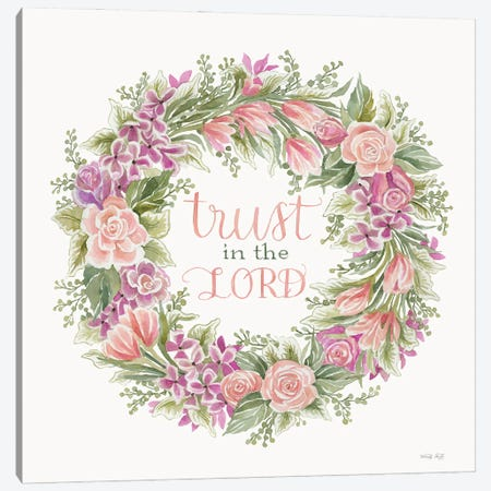 Trust In the Lord Floral Wreath Canvas Print #CJA413} by Cindy Jacobs Canvas Wall Art