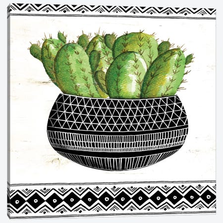Mud Cloth Black and White Succulent I Canvas Print #CJA45} by Cindy Jacobs Canvas Print