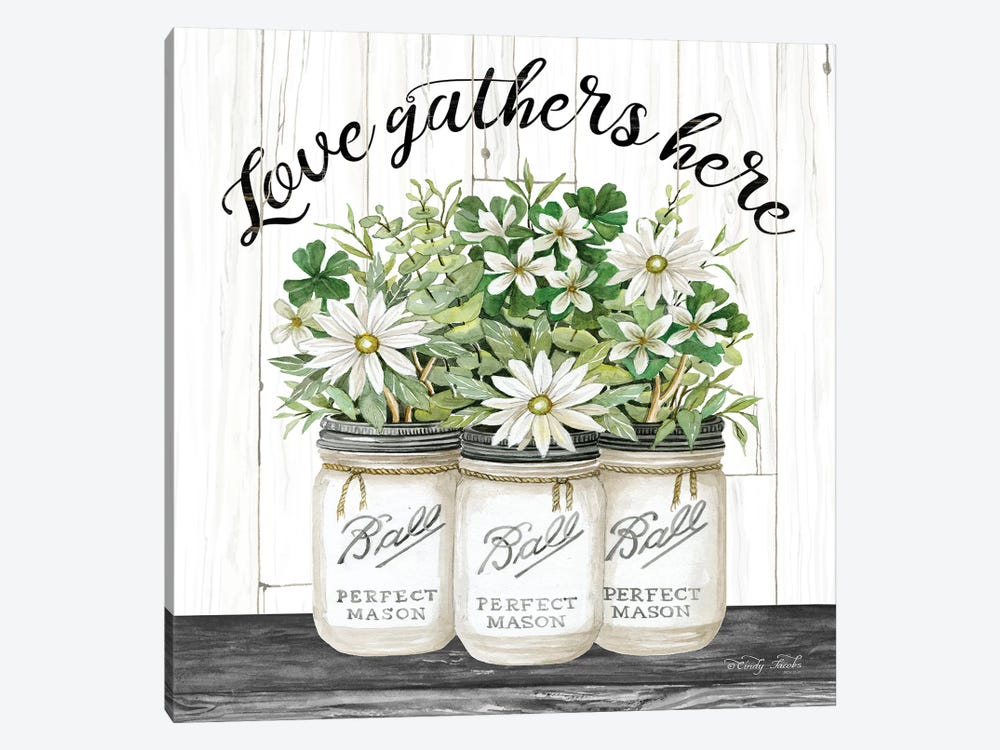 White Jars - Love Gathers Here by Cindy Jacobs 1-piece Canvas Artwork