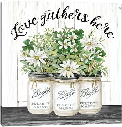 White Jars - Love Gathers Here Canvas Art Print