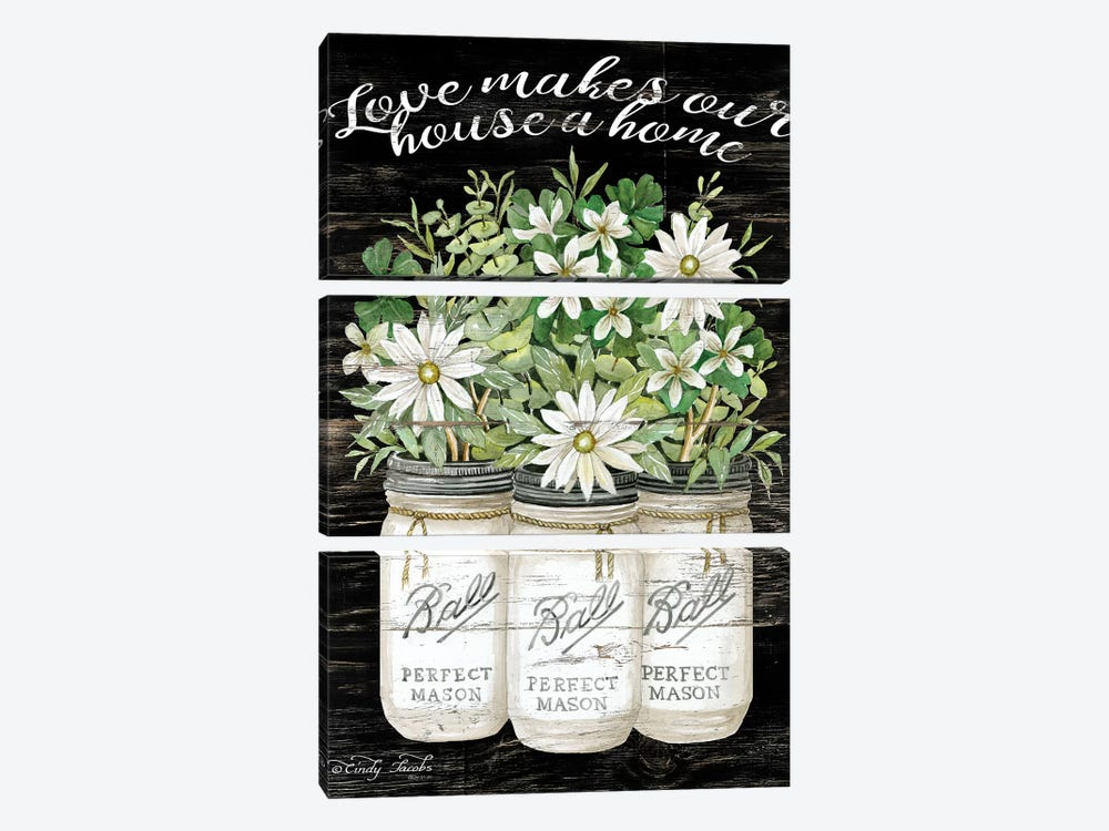 White Jars - Love Makes Our House a Home by Cindy Jacobs 3-piece Canvas Art Print