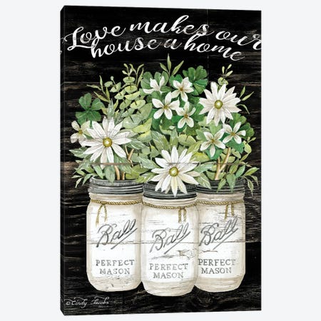 White Jars - Love Makes Our House a Home Canvas Print #CJA68} by Cindy Jacobs Canvas Art
