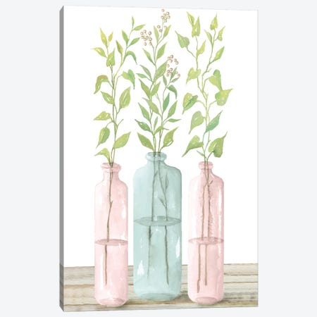 Pastel Leaves in Jars   Canvas Print #CJA88} by Cindy Jacobs Canvas Artwork