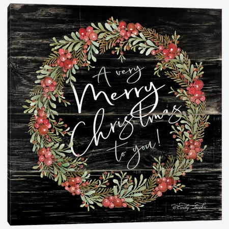 A Very Merry Christmas Wreath Canvas Print #CJA93} by Cindy Jacobs Art Print