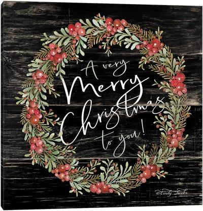A Very Merry Christmas Wreath Canvas Art Print