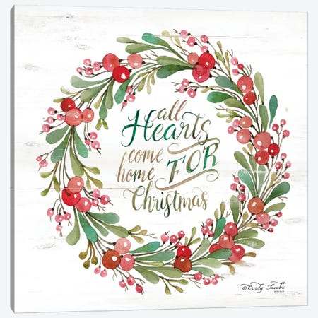 All Hearts Come Home for Christmas Berry Wreath Canvas Print #CJA96} by Cindy Jacobs Canvas Artwork
